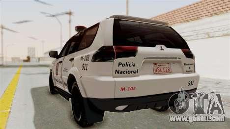 Mitsubishi Pajero Policia Nacional Paraguaya for GTA San Andreas left view