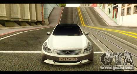 Infiniti G37 for GTA San Andreas back view