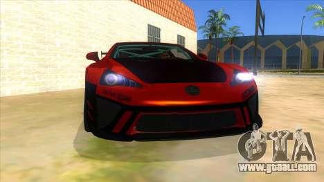 Lexus LFA 2010 Yamai Sister Itasha for GTA San Andreas back view