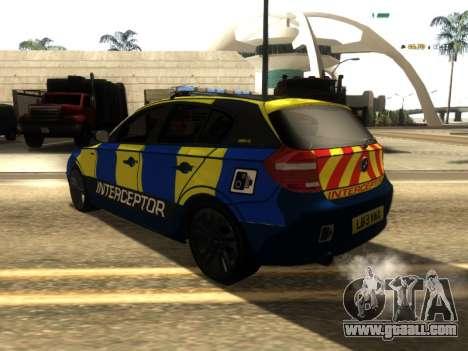BMW 120i SE UK Police ANPR Interceptor for GTA San Andreas back left view