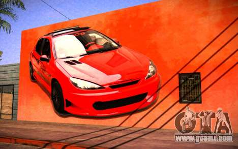 Peugeot 206 Wall Grafiti for GTA San Andreas