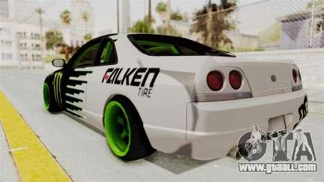 Nissan Skyline R33 Drift Monster Energy Falken for GTA San Andreas left view