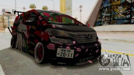 Toyota Vellfire Hatsune Miku Senbonzakura Itasha for GTA San Andreas right view