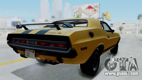 Dodge Challenger RT 440 1970 Six Pack for GTA San Andreas back left view