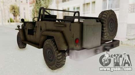 MGSV Jeep No LMG for GTA San Andreas back left view