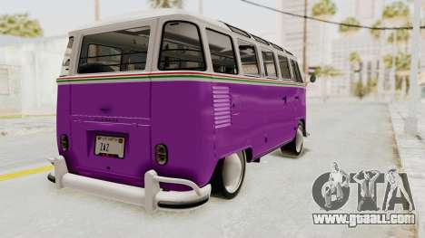 Volkswagen T1 Station Wagon De Luxe Type2 1963 for GTA San Andreas back left view