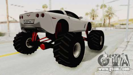 Chevrolet Corvette C6 Monster Truck for GTA San Andreas back left view