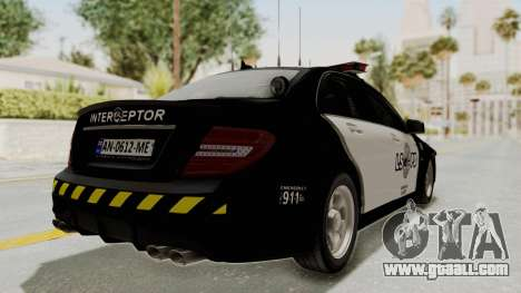 Mercedes-Benz C63 AMG 2010 Police v2 for GTA San Andreas right view