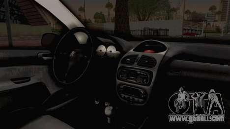 Peugeot 206 Full for GTA San Andreas inner view