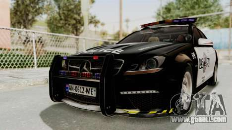 Mercedes-Benz C63 AMG 2010 Police v2 for GTA San Andreas back left view