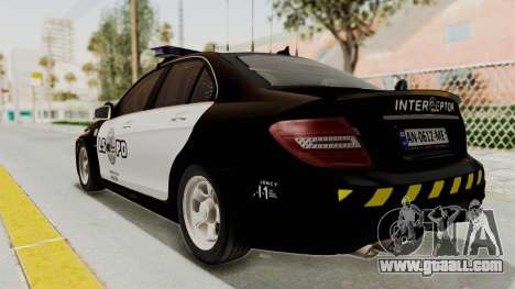 Mercedes-Benz C63 AMG 2010 Police v2 for GTA San Andreas left view