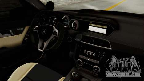 Mercedes-Benz C63 AMG 2010 Police v2 for GTA San Andreas inner view
