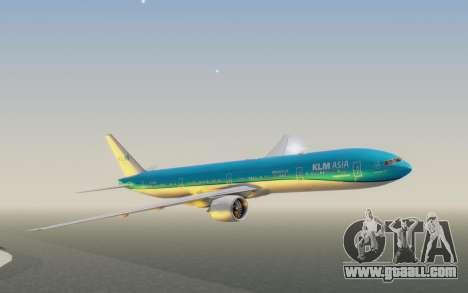 Boeing 777-300ER KLM - Royal Dutch Airlines v2 for GTA San Andreas back left view