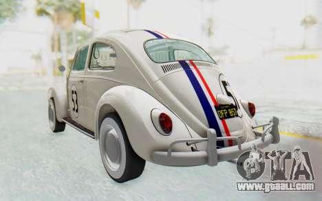 Volkswagen Beetle 1200 Type 1 1963 Herbie for GTA San Andreas back left view