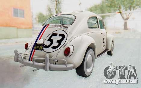 Volkswagen Beetle 1200 Type 1 1963 Herbie for GTA San Andreas left view