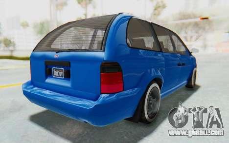 GTA 5 Vapid Minivan Custom for GTA San Andreas back left view