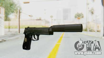 Tariq Iraqi Pistol Back v1 Black Silenced for GTA San Andreas