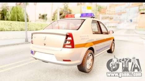 Dacia Logan Facelift Ambulanta v2 for GTA San Andreas back left view