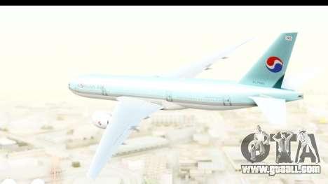 Boeing 777-200ER Korean Air for GTA San Andreas right view