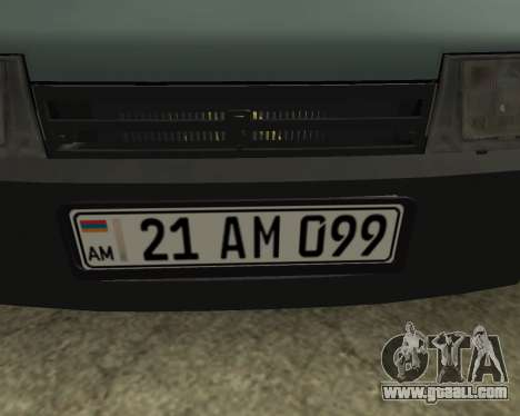 Vaz 21099 ARMNEIAN for GTA San Andreas inner view