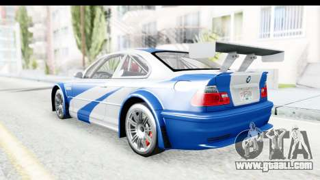 NFS: MW - BMW M3 GTR for GTA San Andreas back left view
