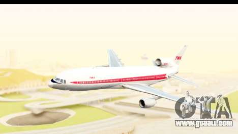Lockheed L-1011-100 TriStar Trans World Airlines for GTA San Andreas back left view