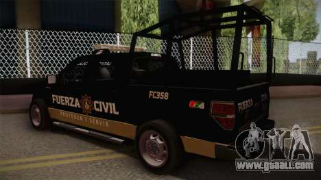 Ford F-150 de la Fuerza Civil de Nuevo Leon for GTA San Andreas left view