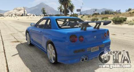 GTA 5 Nissan Skyline GT-R V-Spec R34 left side view