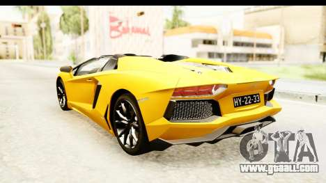 Lamborghini Aventador LP700-4 Roadster v2 for GTA San Andreas back left view