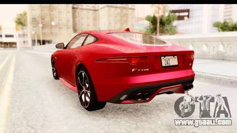 Jaguar F-Type R Coupe 2015 for GTA San Andreas back left view