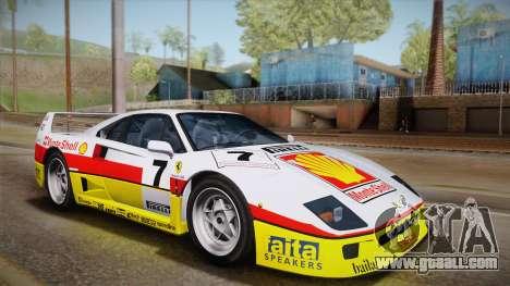 Ferrari F40 (EU-Spec) 1989 IVF for GTA San Andreas interior