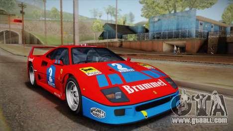 Ferrari F40 (EU-Spec) 1989 HQLM for GTA San Andreas back view