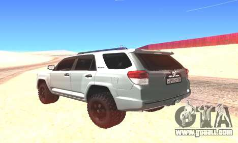 Toyota 4Runner for GTA San Andreas back left view