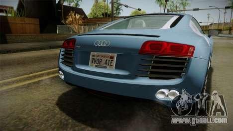 Audi R8 Coupe 4.2 FSI quattro EU-Spec 2008 YCH for GTA San Andreas upper view