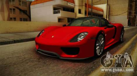 Porsche 918 Spyder 2013 Weissach Package SA for GTA San Andreas right view