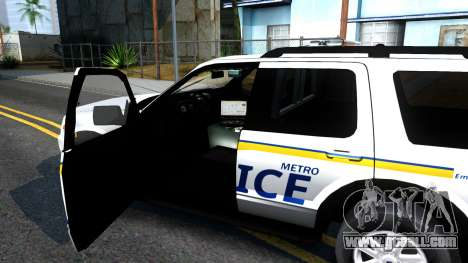 Ford Explorer Metro Police 2009 for GTA San Andreas inner view