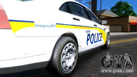 Chevy Caprice Metro Police 2013 for GTA San Andreas back view