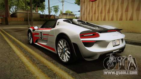 Porsche 918 Spyder 2013 Weissach Package SA for GTA San Andreas wheels