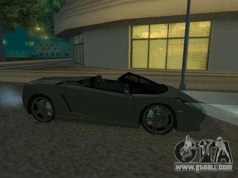 Lamborghini Galardo Spider for GTA San Andreas back left view