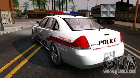 Chevy Impala Blueberry PD 2009 for GTA San Andreas back left view
