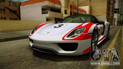 Porsche 918 Spyder 2013 Weissach Package SA for GTA San Andreas engine