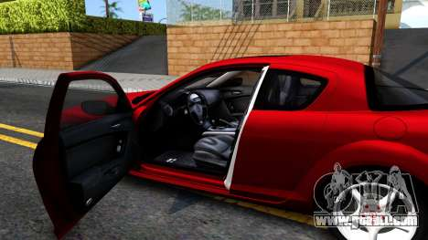 Mazda RX-8 for GTA San Andreas inner view