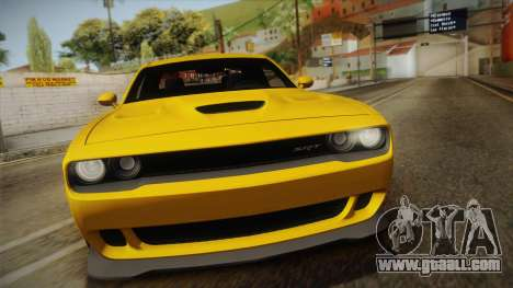 Dodge Challenger Hellcat 2015 for GTA San Andreas right view