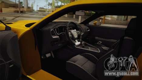 Dodge Challenger Hellcat 2015 for GTA San Andreas inner view