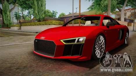 Audi R8 V10 2017 for GTA San Andreas