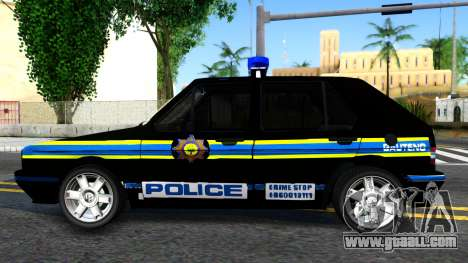 Volkswagen Golf Black South African Police for GTA San Andreas left view
