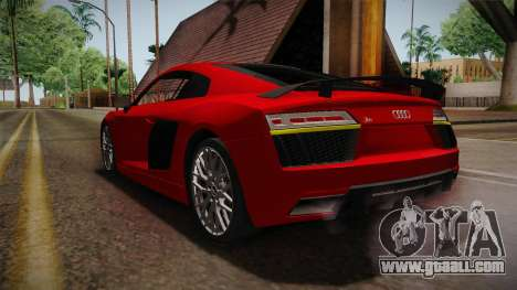 Audi R8 V10 2017 for GTA San Andreas back left view