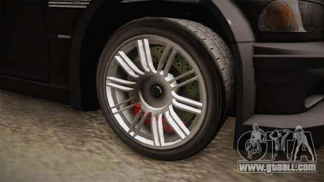 NFS: MW - BMW M3 GTR (E46) Hidden Vinyl Version for GTA San Andreas back view
