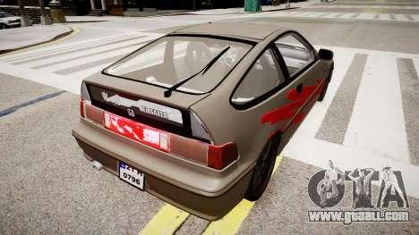 Honda CRX 1992 for GTA 4 back left view