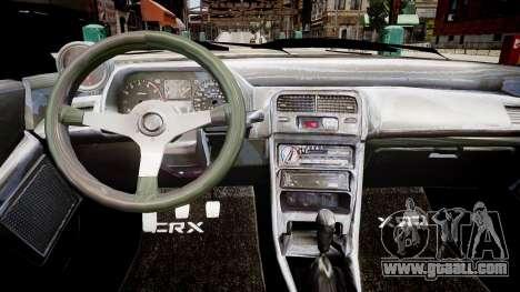 Honda CRX 1992 for GTA 4 inner view